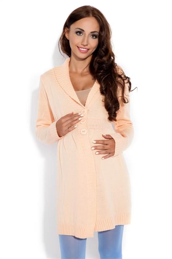 Těhotenský pletený kabátek Fobya F131 broskvový c631f75d35