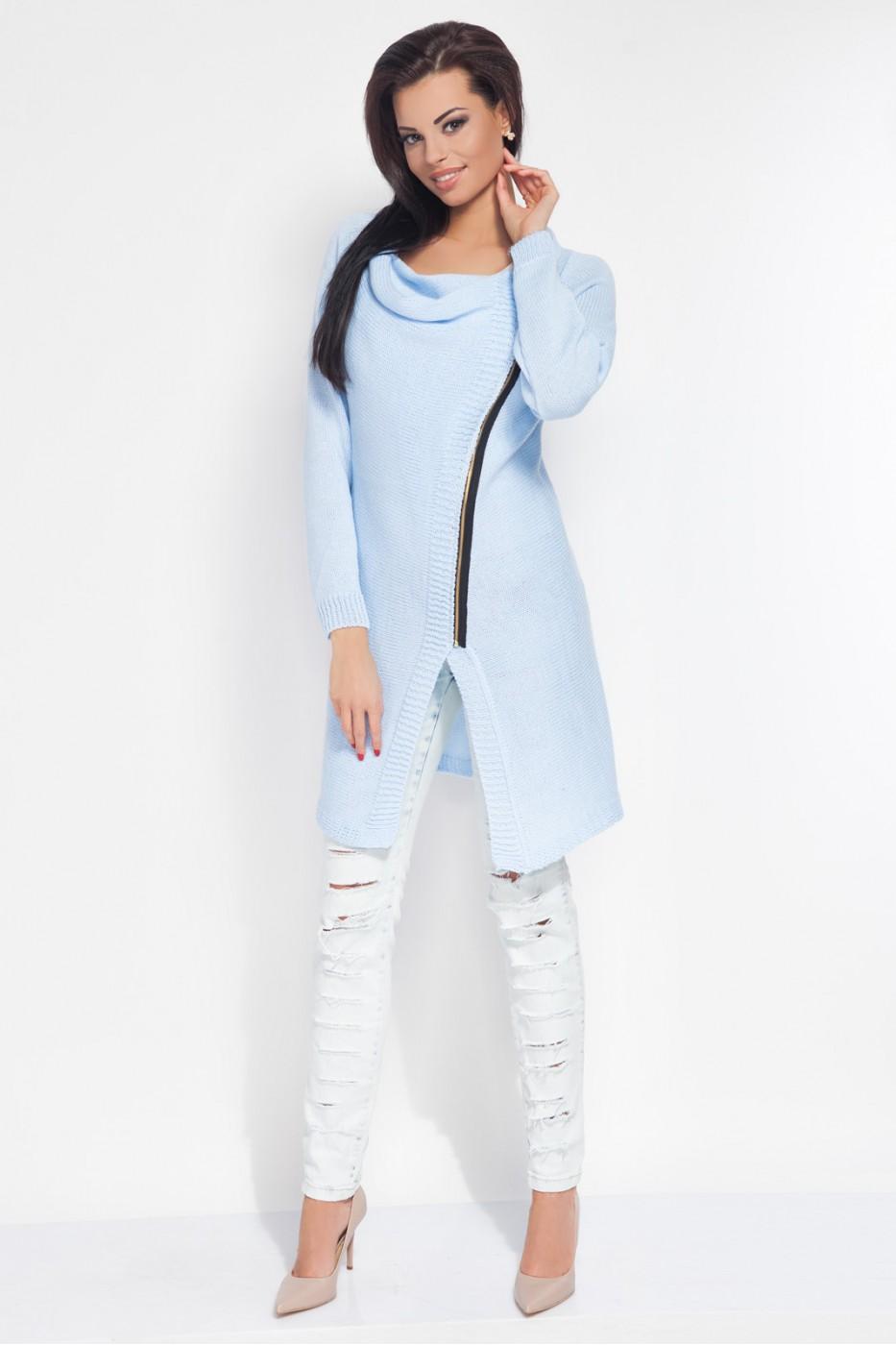 Dámský pletený kabátek Fobya F151 světle modrý  5858865965