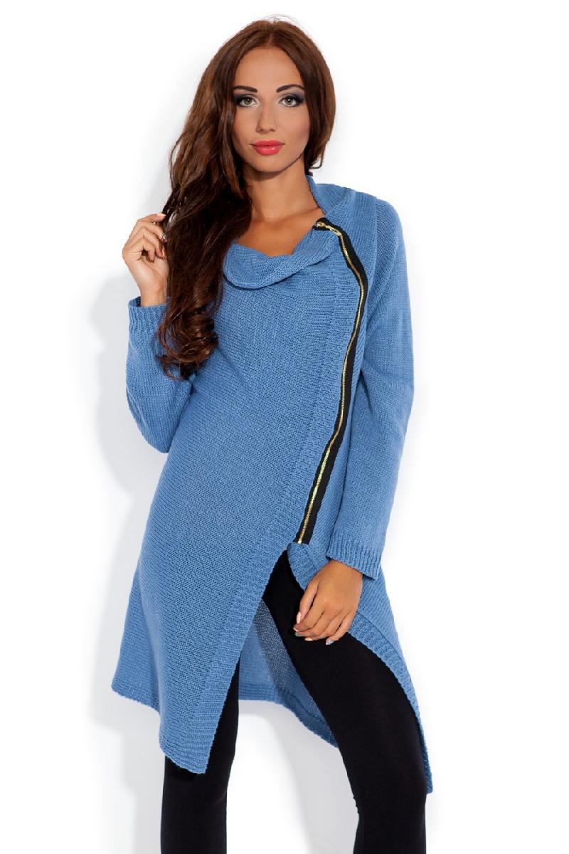 Dámský pletený kabátek Fobya F151 modrý  13d2374e9d