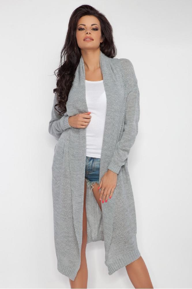 Dámský pletený kabátek Fobya F201 šedý  e8fefd502f