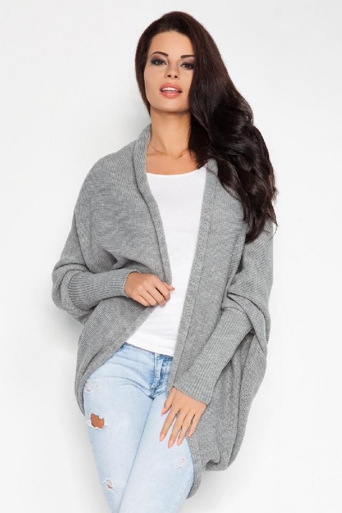 Dámský pletený kabátek Fobya F206 světle šedý  4f6daf1bcc