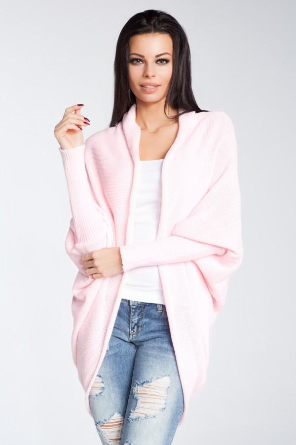 Dámský pletený kabátek Fobya F206 růžový  e963aa8cd1