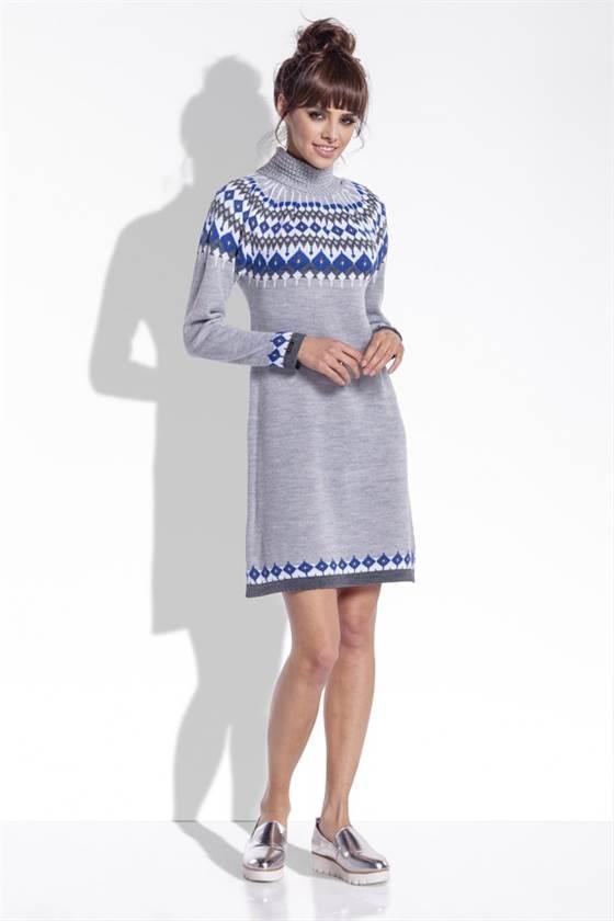 Zimní šaty Fobya F346 světle šedé e95e2f2b19
