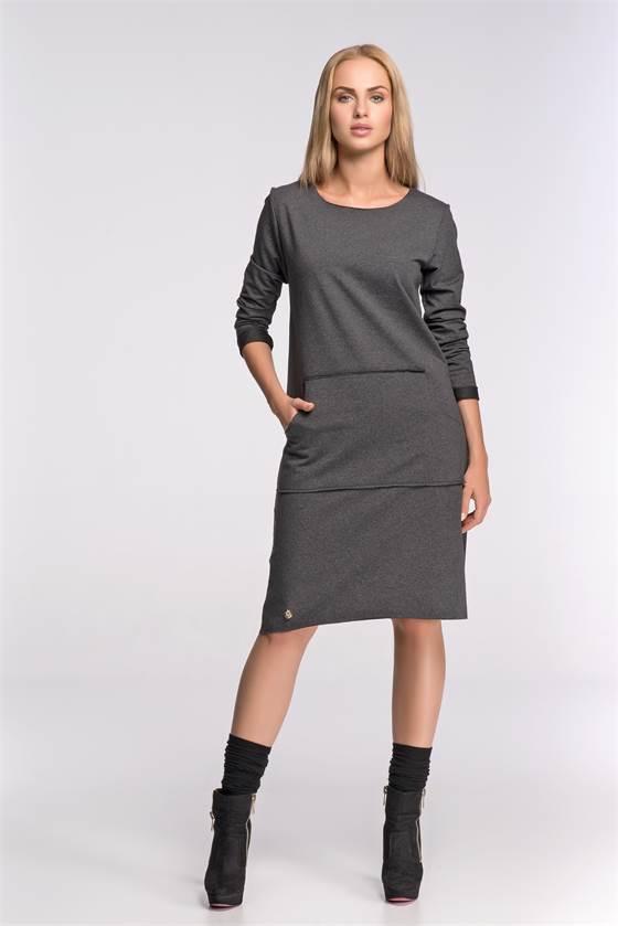 c8a9825c3ad4 Dámské šaty Makadamia M266 tmavě šedý melír