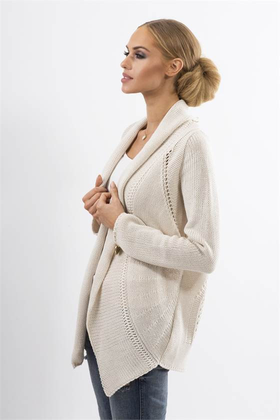 Pletený dámský kabátek Makadamia MS19 béžový db7bee2070
